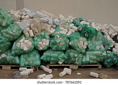 plastic bottle container improper storage, warehouse management