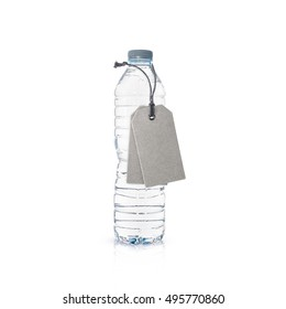 Plastic bottle of drinking water and tags isolated on white