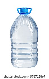 Plastic  bottle filled with pure drinking water isolated on the white background (5 liters)