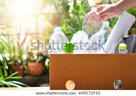 plastic bottle garbage for recycling concept reuse