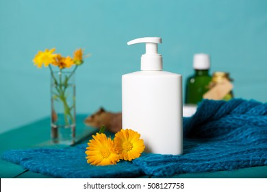Plastic bottle of intime gel with calendula extract. Closeup