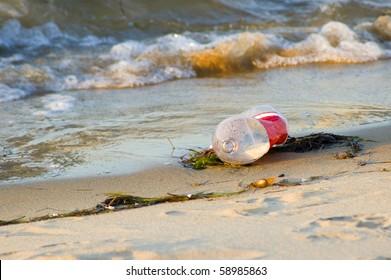 Plastic Bottle Litter on the Beach