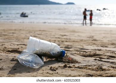 Plastic bottle litter on beach