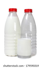 Plastic bottle with milk on white background