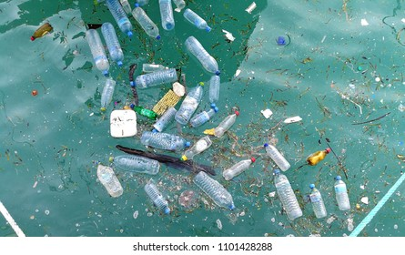 Plastic bottle in the ocean sea water