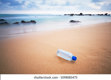 Plastic bottle on the beach. Concept of eco pollution in Sri Lanka