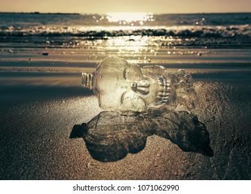 Plastic bottle on the beach. Plastic kills our marine creatures.