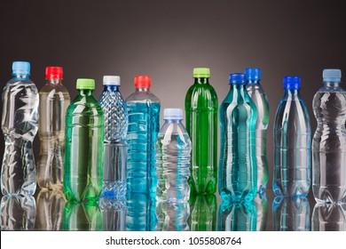 plastic bottle on the blue background