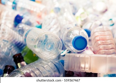 Plastic bottle in pile garbage,Waste management concept.