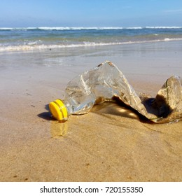 Plastic bottle pollution on the beach