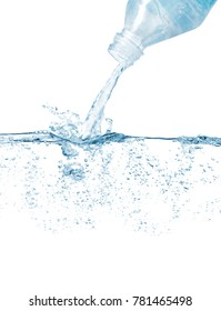 Plastic bottle pouring splashing water against white background