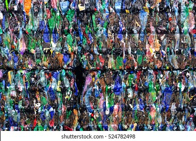 plastic bottle prepare to recycle pressed to bales