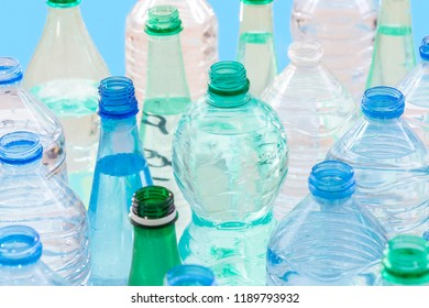 plastic bottle recycling concept. collection of various plastic bottles on white