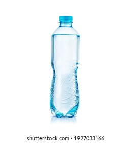 Plastic bottle of still clean water isolated on white background