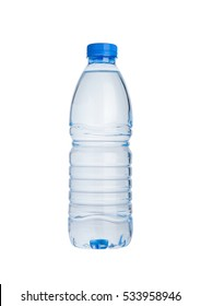 Plastic bottle of still healthy water isolated on white background