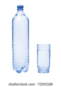 Plastic bottle with water and glass isolated
