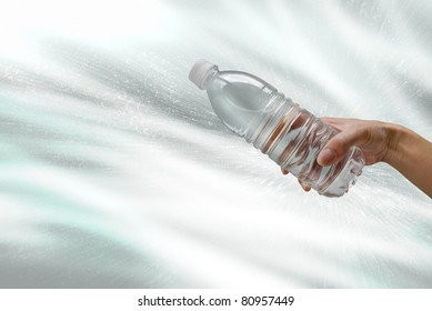 Plastic bottle with water splash