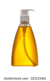 Plastic Bottle for Yellow Shampoo, Liquid Soap or Lotion. Close - up Isolated on a White Background