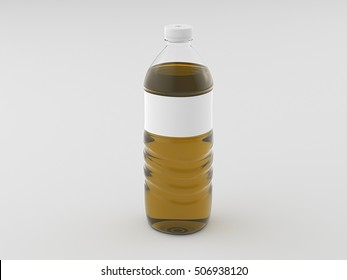 Plastic bottle of yellow water with blank label isolated on white background include clipping path. 3d render