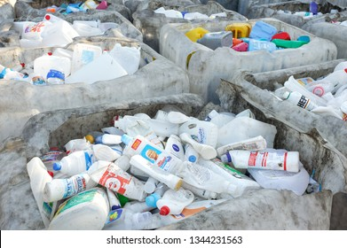 Plastic Bottles From Cleaning Supplies. Sorted Plastic From Cleaning Supplies At The Recycling Plant. Kyiv, Ukraine, Kyivmyskvtorresursy Plant -Kyiv s Plant for recycling used garbage. 01.10.2018