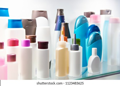 Plastic bottles cosmetic and shampoo in store