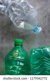 Plastic bottles detail texture.