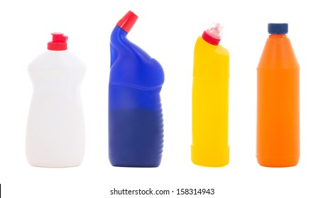 plastic bottles of dishwashing liquid isolated on white background