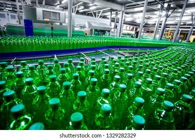 Plastic  bottles on factory line