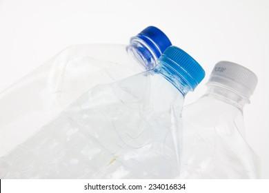 Plastic bottles on a white background