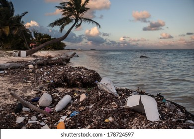 Plastic bottles and other plastic refuse washes ashore on a remote sandy caye off of Belize in the Caribbean Sea. Plastic is a major threat to marine life yet is found in huge quantities worldwide.