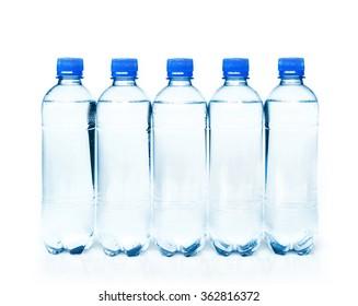plastic bottles of potable water