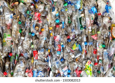 Plastic bottles pressed and packed for recycling. recycling To conserve the environment concept.plastic bottles are collected to be melted into new plastic items.