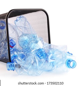 Plastic bottles in recycling bin isolated on white