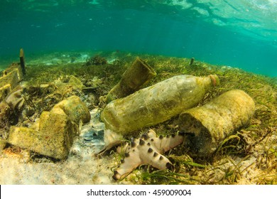 Plastic bottles and rubbish pollution in ocean