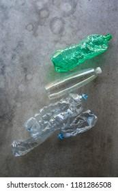Plastic bottles still life texture.