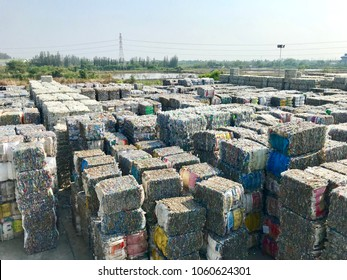 Plastic bottles storage,compressed into bales and ready for recycling