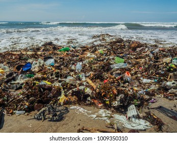 plastic bottles and Trash on the beach in bali