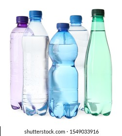Plastic bottles with water isolated on white