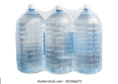 Plastic bottles with water packing in polyethylene film  for humanitarian and emergency help