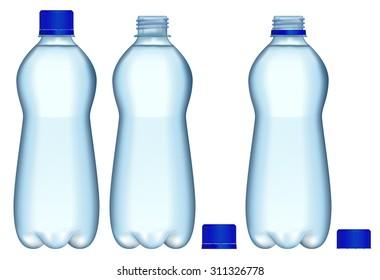 Plastic Bottles of water. Raster version. Isolated on white.