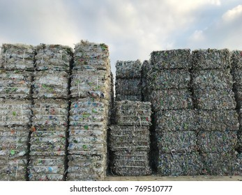 Plastic bottles,compressed into bales and ready for recycling