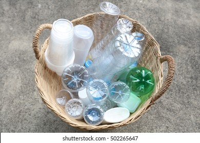 Plastic bottles,plastic ware made from polymer for re use and recycle concept