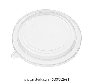 Plastic bowl cover lid disposable (with clipping path) isolated on white background