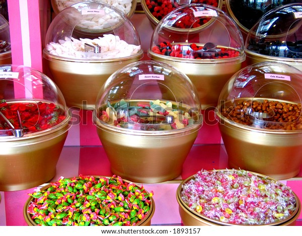 Plastic bowls of Colorful Candies in a Store