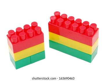 plastic bricks isolated on white background