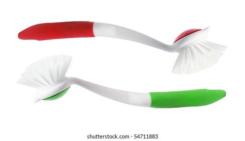Plastic Brushes on White Background