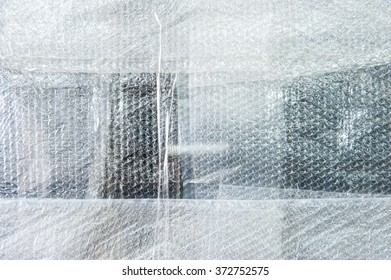 Plastic bubble wrap for packing,background pattern selective focus.