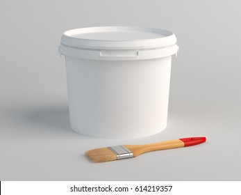 Plastic bucket and brush on floor. 3D Render