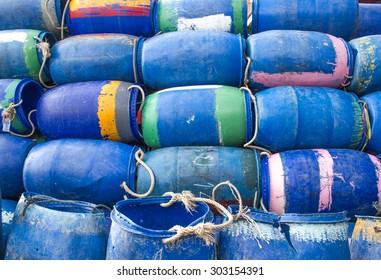 plastic bucket for fishermen on Songkla shore, Thailand