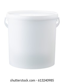 Plastic bucket isolated on white background